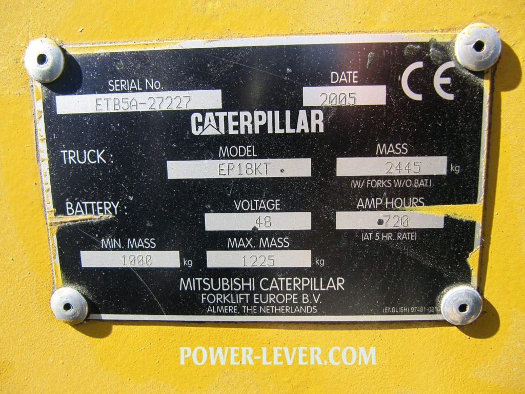 پلاک لیفتراک برقی کاترپیلار